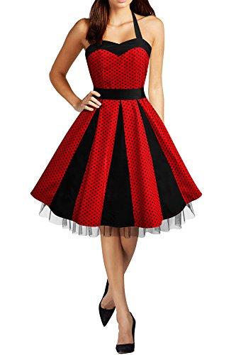 BlackButterfly 'Ivy' Vestido Swing De Lunares De Los Años 50 (Rojo - Pequeños Lunares Negros, ES 36 - XS)