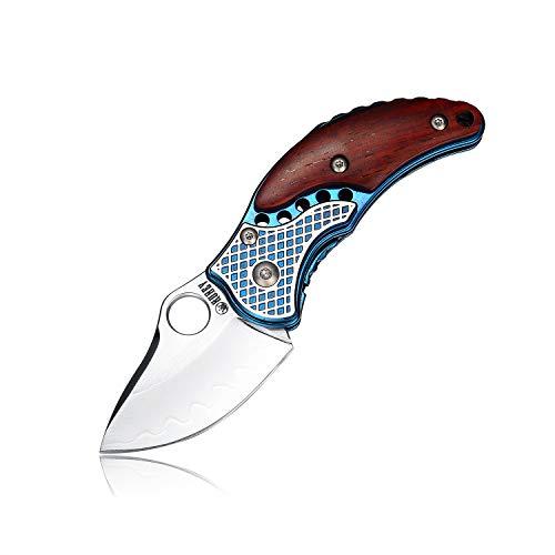 Mini Damast Taschenmesser Klappmesser Damaststahl Holzgriff Messer Outdoor Damastmesser Folder Knife 5 cm Klinge (Blau)