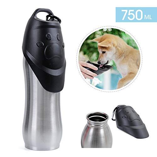 Speedy Bottiglia dell'acqua con ciotola, portatile, da viaggio, per animali domestici, per cani, in acciaio INOX, leggera e impermeabile, per l'esterno, da 740 ml