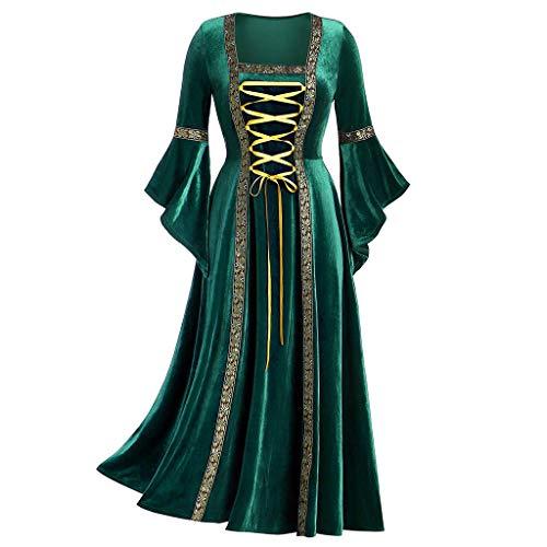 iHAZA Halloween Médiéval Princesse Cosplay Costumes pour Femmes Moyen âge Robe Gothique Rétro Victoria à Manches Longues Carnaval Robes