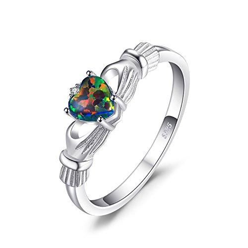 JewelryPalace Herz 0.6ct Irische keltische Claddagh Synthetisch Schwarz Opal Geburtsstein Ringe Vertrauensring 925 Sterling Silber Größe 46 to 62