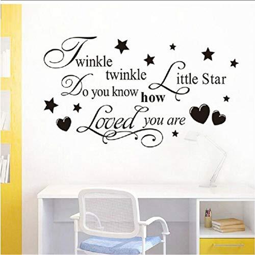 ljmljm Schwarz 40x72cm Sterne Kinderzimmer Geschnitzte dekorative Wandsticker -