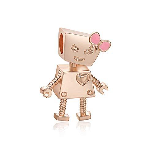 Xingxx accessori amore cuore charms alta qualità argento perline fit pandora bracciale per donne diy gioielli md340-rosegold