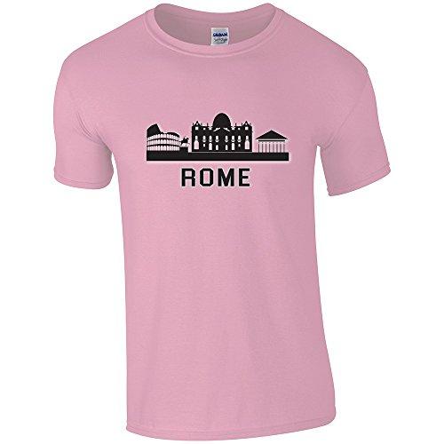 City Roma, Rome, Light Pink Gildan Softstyle Youth Ringspun T-shirt Rosa Bambino Ragazze Maglietta Girls Top con Design Colorato. Taglia X-Large, 12-14 Anni.