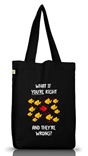 What If You're Right Poster, Jutebeutel Stoff Tasche Earth Positive (ONE SIZE) Black