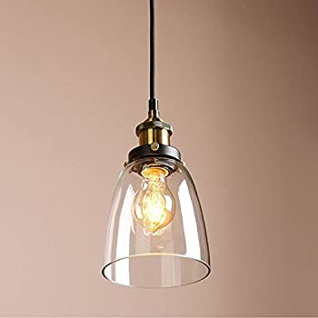 Louvra glass pendant light retro industrial bell glass ceiling shade vintage clear glass hanging pendant lighting lamp for living room loft kitchen office