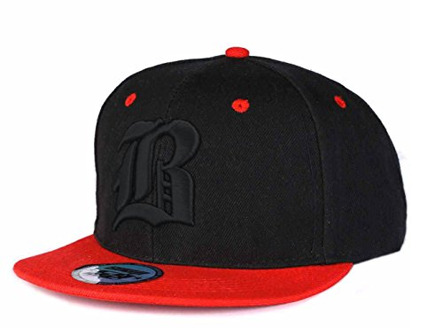 New Unisex Snapback Mütze Cap Gothic 3D B Flexfit Baseball Kappe Damen Herren HUT Caps Snap back (B red Black) (Snapbacks Hüte)