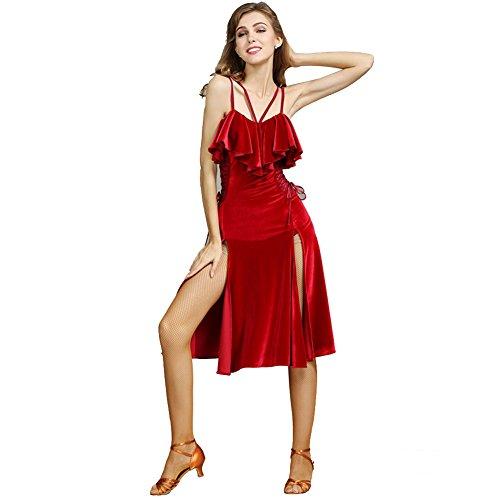 Q-JIU Latin Tanzbekleidung Frauen Samt Doppel Schultergurte Schlank Verband Lotus Blatt Kostüm Kleid,Red,XL