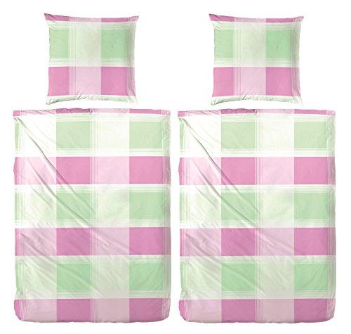 Primera First Sleepware 4-tlg (2 Stück/Garnituren) Bettwäsche Seersucker Karo grün Pink 155x220 cm 100% Baumwolle OekoTex