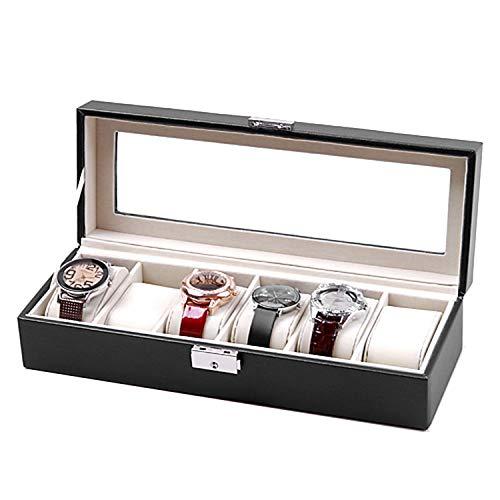 wall-8-CC Uhrenbox mit 6 Fächern, für Rotweinuhren, Schmuck-Organizer, Metallschnalle, Schwarz
