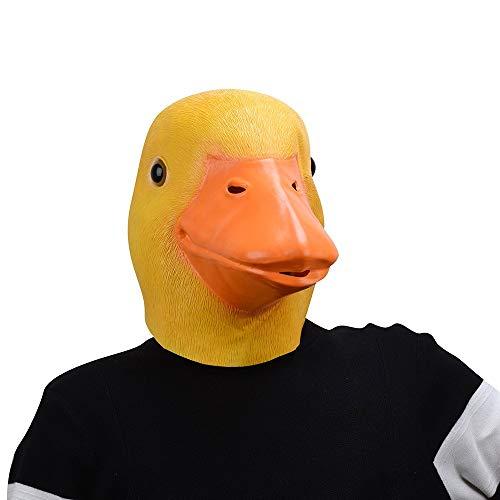 JHSHENGSHI Ente Maske, Latex Gummi Humoristisch Lustig Gesicht Kopfmaske für Halloween Weihnachten Kostüm Dekoration Party Maskerade (Halloween Gesicht Reißverschluss Scary)