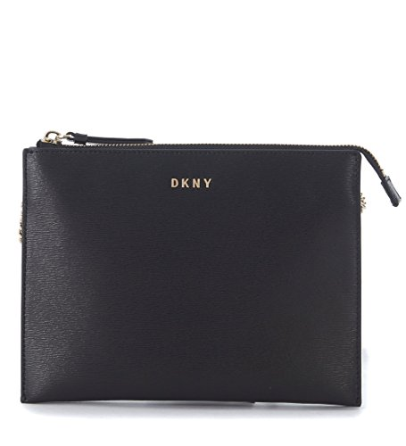 Borsa a tracolla DKNY flat in pelle saffiano nera