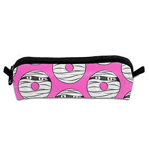 Mummy Donuts Pink Halloween Pencil Case Zipper Canvas Pen Pouch Bag for Girls Kids Teens Women 8.26 X 2.16 X 1.96 inch (Halloween Tote Lady Pink)