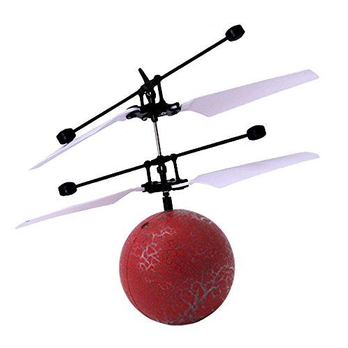 Bolange Kristallkugel-Induktionsflugzeug-Hubschrauber USB-Aufladungs-lustiges Fliegen-Ball LED-Partei-Dekoration Kinderspielzeug - Sprung rot