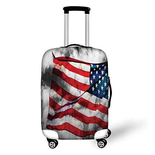 1b621b07d8b8 Travel Luggage Cover Suitcase Protector,American Flag,Banner in The Sky on  Cloudy Mist Display National Symbol Proud of Heritage,Grey Red Blue,for ...