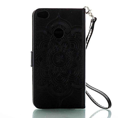 Cover Huawei P8 Lite 2017, Alfort 2 in 1 Custodia Protettiva in Pelle Verniciata Goffrata Campanula Alta qualità Cuoio Flip Stand Case per la Custodia Huawei P8 Lite 2017 Ci sono Funzioni di Supporto  Nero