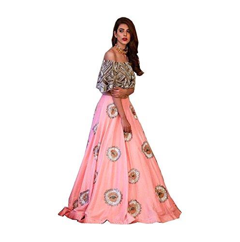 Fancy Wear Women\'s Pink Silk Indo-Western Long Cholis [SL 59 (FW_16)]
