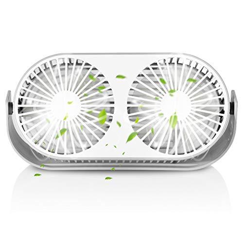 Ventilador USB Silencioso, Ventilador de Mesa con Doble Cabeza, 3 Modo de...