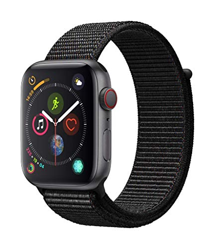 Apple Watch Series 4 GPS + Cellular, 44mm Aluminiumgehäuse, Space Grau, with Black mit Sport Loop