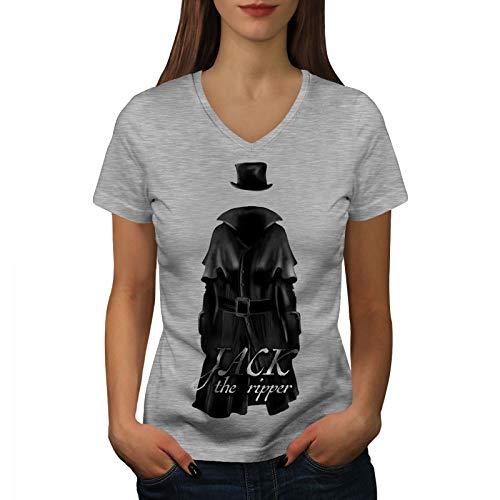 Damen The Kostüm Jack Ripper - wellcoda Jack Ripper Killer Frau V-Ausschnitt T-Shirt Tod Grafikdesign-T-Stück