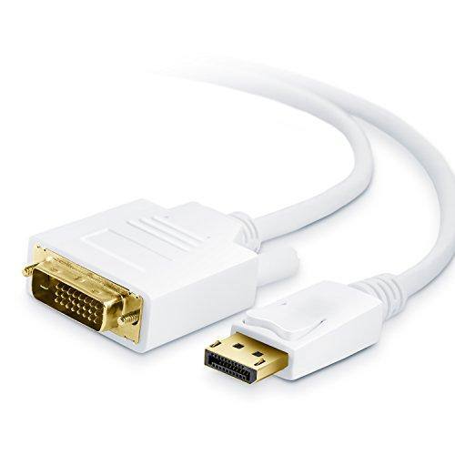 CSL - 2m (Meter) HQ DisplayPort (DP) auf DVI Kabel | Zertifiziert / HDCP und EDID | Full HD Ausflösung | 24K vergoldete Kontakte / 3 fach Schirmung | Grafikkarten / Apple und PC / Beamer / Monitor Dvi Component-video-kabel