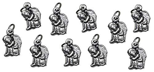 Eurofusioni Kleiner Schutzengel Anhänger - DIY Taufe Gefälligkeiten für Jungen und Mädchen - Silber vergoldet Charms mit Ring - h 1,5 cm - 10 Stück