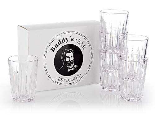 Buddy's Bar - 6er Set, Hochwertige 0,15 Liter Tritan Kunststoff Trinkgläser, BPA frei, Kristallglas-Optik, bruchfeste Mehrweg-Gläser, wiederverwendbar und spülmaschinenfest, 150 ml