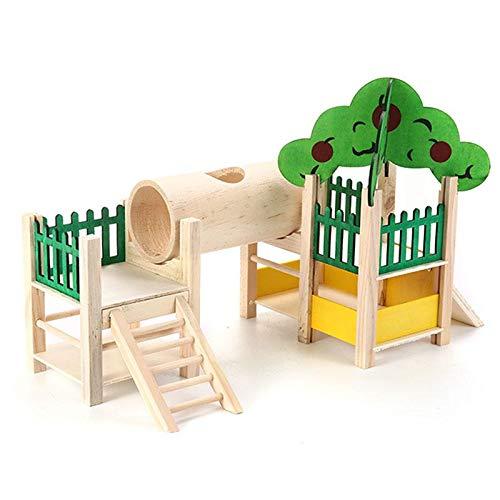 TEEPAO Maison et cachettes pour Hamster en Bois Naturel pour Rats avec Tube/clôture/échelle/toits, pour Petits Animaux, Souris naines, Gerbille, Sucre, etc.