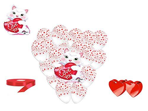 San valentino pallone foil cuore supershape forma cuore kit bouquet centrotavola festa amore innamorati - cdc - (1 pallone juniorshape gatto,10 palloncini, 1 pesetto,1 nastro rosso )