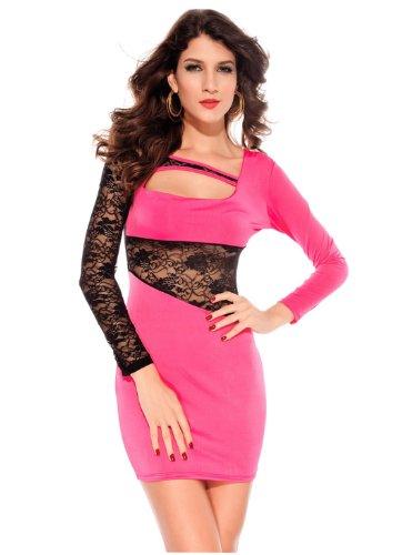 Dissa® dentelle Populaire Couture manches longues Cocktail Soirée Robe, Rose Rose
