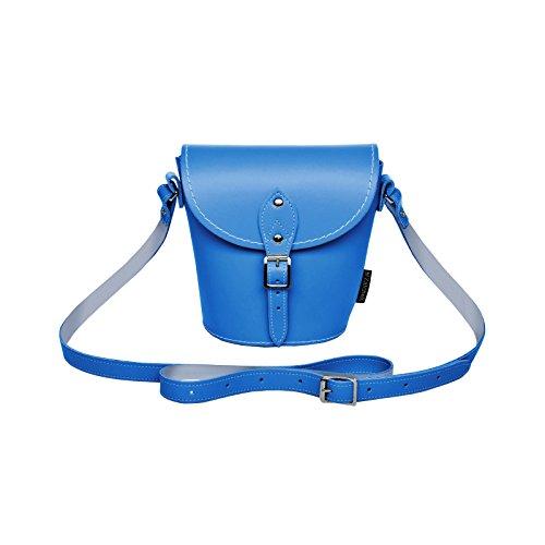 Zatchels Damen Leder Handtasche, klein, handgefertigt in Großbritannien Kornblumenblau