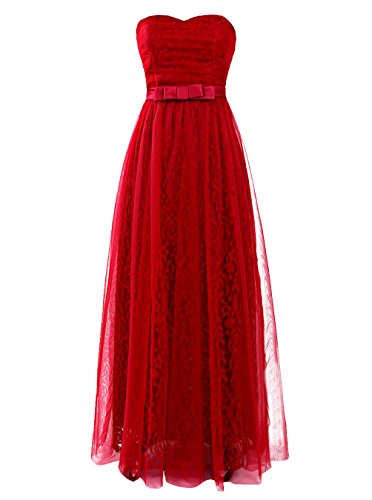 Find Dress Charmant Robe Soirée Longue Cocktail/Cérémonie pour Mariage Col en Coeur Robe Anniversaire Adulte Taille Personnaliser en Tulle Multicouche Bordeaux