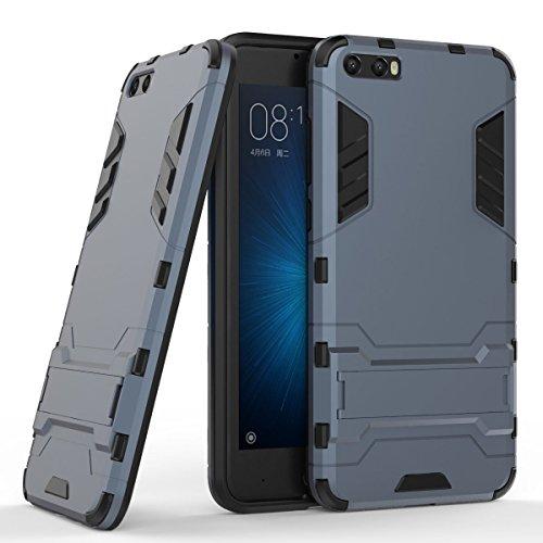 Hülle für Xiaomi Xiaomi Mi 6 (5,15 Zoll) 2 in 1 Hybrid Dual Layer Shell Armor Schutzhülle mit Standfunktion Case (Blau Schwarz)