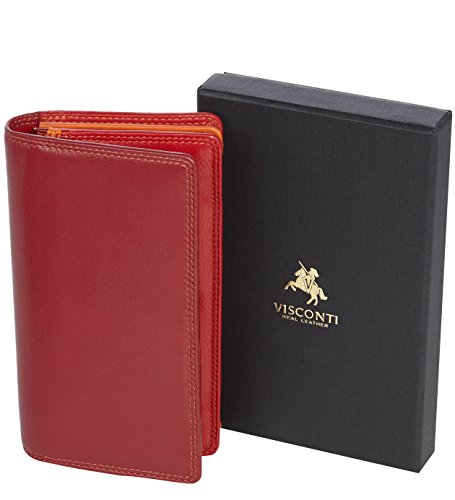 "Visconti portafoglio di pelle da donna a piegatura doppia ""Rainbow"" multicolore Multicolor Purse (Brown Multi) Red Multi"