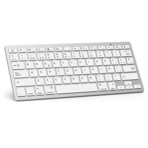 OMOTON Bluetooth Teclado Español Ultra-Delgado Mini para iPhone/iPad Air/iPad Pro/iPad Mini y Todas Sistemas de iOS, No se Adapta a Macbook (Blanco)