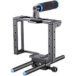 Neewer cámara vídeo jaula película película making Kit: (1) jaula de cámara de vídeo, (1)–Mango, (2) 15mm caña de pescar para cámaras Canon, Nikon, Sony y otras cámaras réflex digitales para pantalla plana caja mate, enfoque de seguimiento (aleación de aluminio, azul/negro)