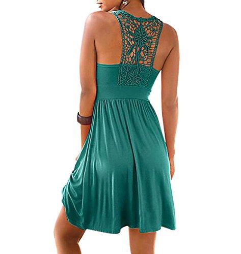 YYF Damen Ärmellos Strand Abend Cocktail Kurze Kleid mit Spitze Grün