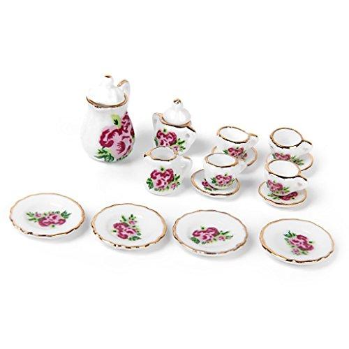 Decoracion de casa de munecas - TOOGOO(R) 15piezas Juego de te de porcelana mercancia en miniatura de casa de munecas Platos tazas platos de rosa china