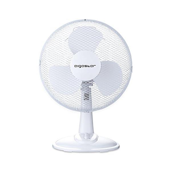 Aigostar – Ventilatore da tavolo, silensioso, 2/3 impostazioni di velocità, 20/40 Watt, 9/12 pollici,Oscillazione di 80 gradi. Design esclusivo