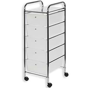 meuble de rangement gina sur roulettes 5 tiroirs 1 tablette cuisine maison. Black Bedroom Furniture Sets. Home Design Ideas