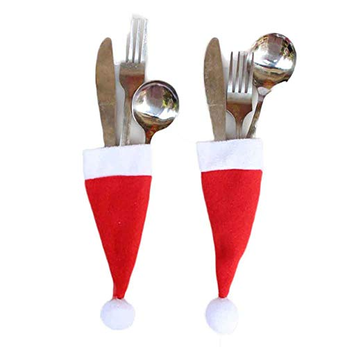 Wanshop ® Christmas Hat,10 Pcs Santa Claus Caps Christmas Cutlery Holders Set Dinner Party Xmas Tableware Bag Storage Tool Decor Supplies (Red)