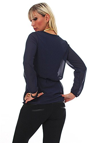 Fashion4Young 4831 à manches longues pour femme avec chemisier pour femme en chiffon top tunique chemise 9 coloris t-shirt, taille 36/38 Bleu - Bleu foncé