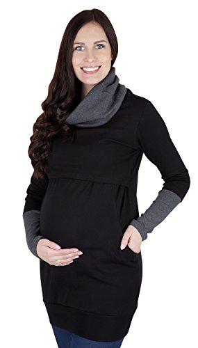 Mija - 2 en 1 Maternité et soins d'allaitement Pull 7115A Noir / Graphit