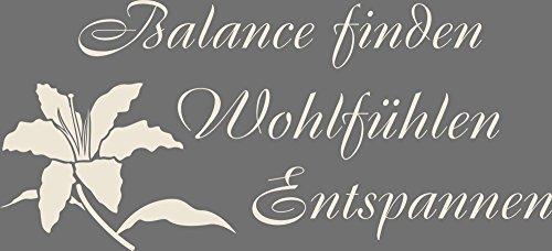 GRAZDesign 650020_30_816 Wandtattoo Wand-Spruch Balance finden | Badezimmer-Tattoo an die Wand/Fliesen/Spiegel (66x30cm//816 Antique White) (Tiger White Wandtattoo)