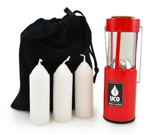UCO Original Kerze Laterne Value Pack mit 3Kerzen und Aufbewahrungstasche, rot (Survival Kerze-laterne)