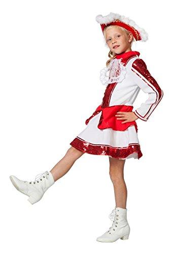 Tanzmariechen Kleid Garde für Kinder rot/weiß mit Pailletten ohne Hut Gr. 140