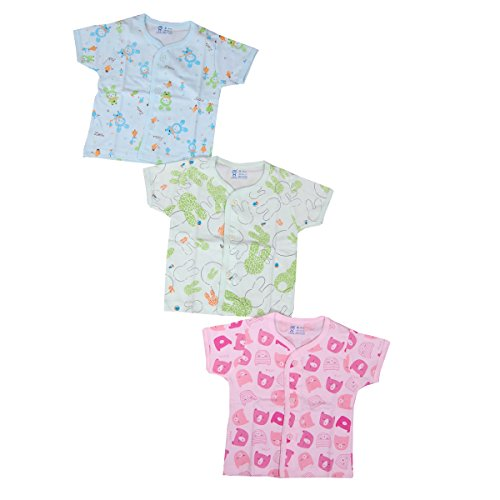 Gurukripa New Born Baby Vest Most Useable Full Sleeves Vest Housiry Cute Prints Front Open Baby Girls And Baby Boys Unisex Baby Top Skin Friendly Baby Tees Undershirt Organic Cotton Open Neck Jhabla Frount Open Baniyan For Baby Pack Of 3 Pcs.