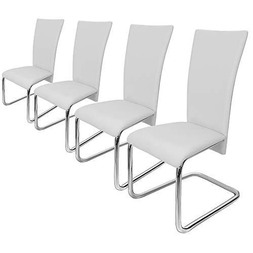 Deuba 4er Set Freischwinger Esszimmerstuhl Weiß- Schwingstühle Küchenstühle Esszimmer Küchenstuhl Esszimmerstühle Stuhlgruppe