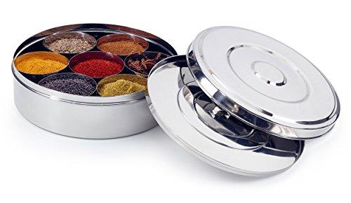 Zinel Gewürzbehälter/Masala Dabba mit 7 Schalen und 2 Edelstahl-Deckeln, 20cm 20 Jar Spice Rack