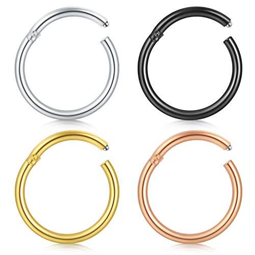 Funseedrr 4er Segment Nasenpiercing Septum Nasenring Clicker Set Chirurgenstahl Lippe Nase Tragus Ohr Piercing Ring Schmuck(14/16/18G) (Nose 18g Ring Silber)